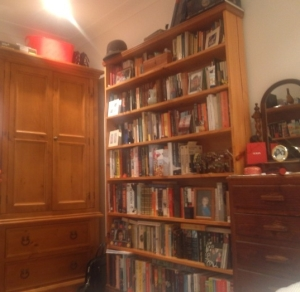 Bookcases always form part of my perfect bedroom. This is mine from Sydney. Every time I saw it, it made me smile.